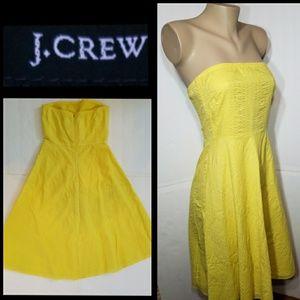 J. Crew Yellow Seersucker Strapless Cotton Dress 4